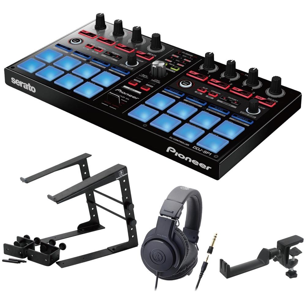 Pioneer DDJ-SP1 DJコントローラー LPS-002 ラップトップスタンド AUDIO-TECHNICA ATH-M20x ヘッドフォン SEELETON ヘッドホンハンガー 4点セット