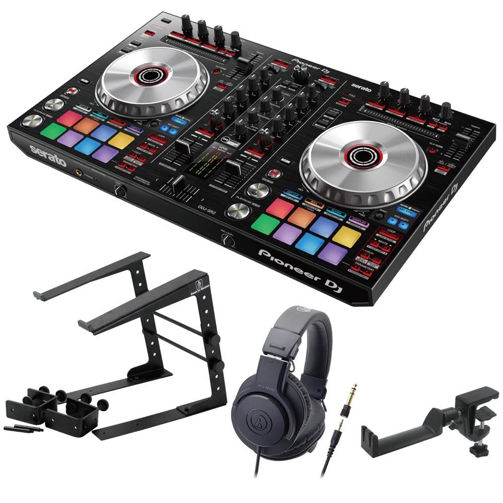 Pioneer DDJ-SR2 DJコントローラー LPS-002 ラップトップスタンド AUDIO-TECHNICA ATH-M20x ヘッドフォン SEELETON ヘッドホンハンガー 4点セット