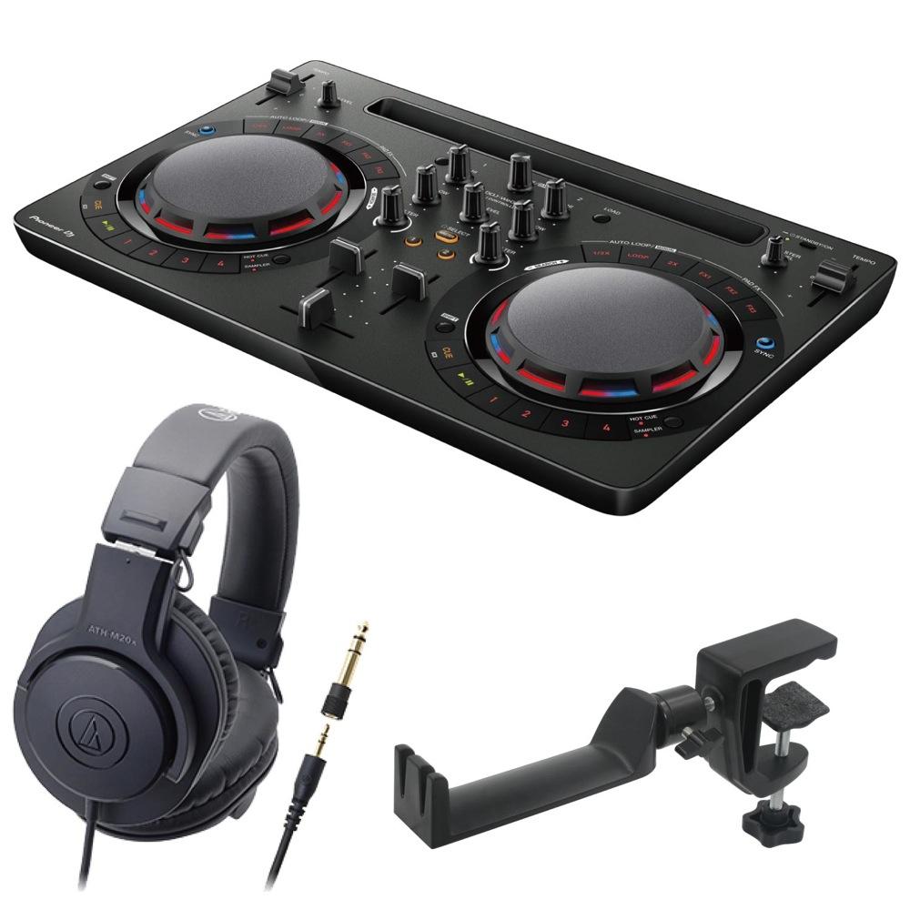 Pioneer DDJ-WEGO4-K black DJコントローラー AUDIO-TECHNICA ATH-M20x ヘッドフォン SEELETON ヘッドホンハンガー 3点セット