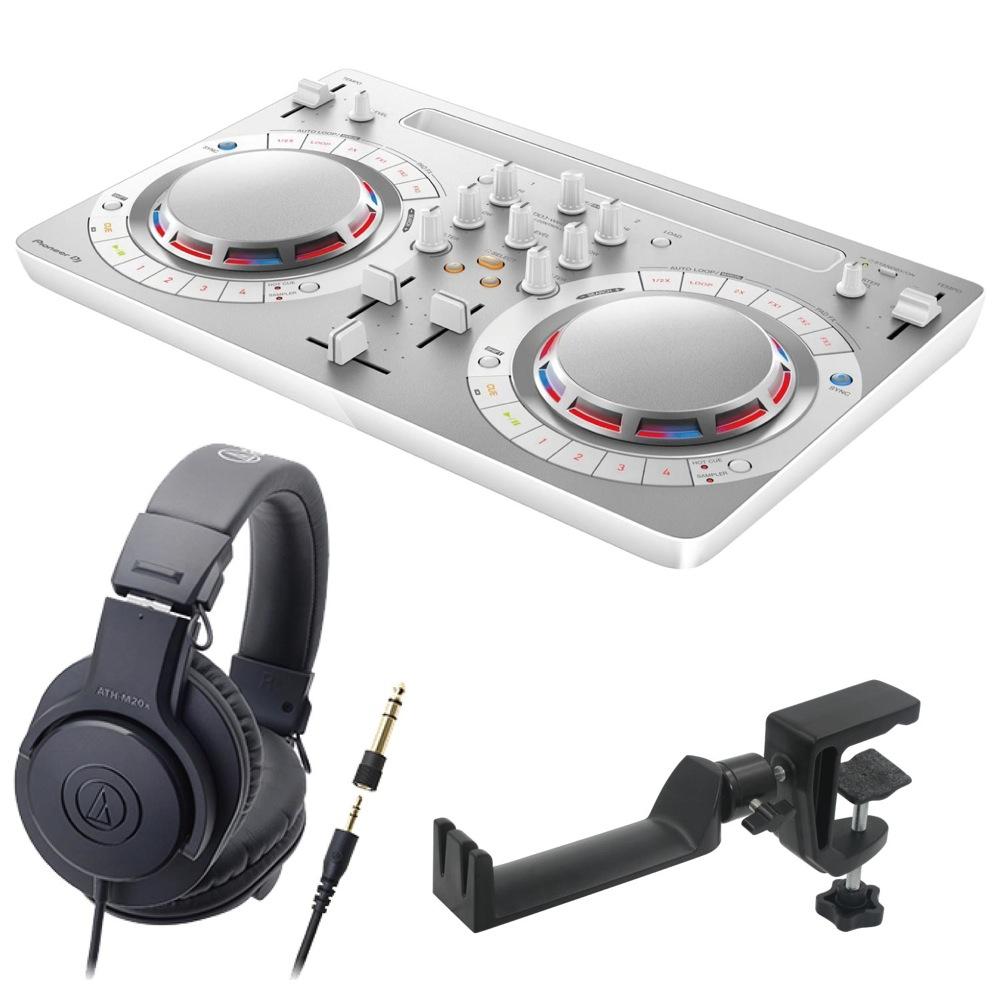 Pioneer DDJ-WEGO4-W white DJコントローラー AUDIO-TECHNICA ATH-M20x ヘッドフォン SEELETON ヘッドホンハンガー 3点セット