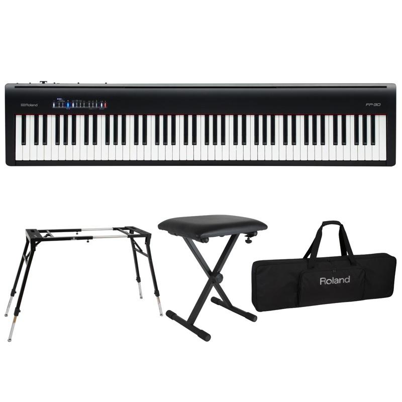 ROLAND FP-30 BK 電子ピアノ Dicon Audio KS-060 スタンド キーボードベンチ キーボードケース付き 4点セット