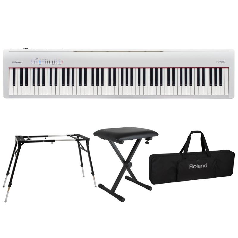 ROLAND FP-30 WH 電子ピアノ Dicon Audio KS-060 スタンド キーボードベンチ キーボードケース付き 4点セット