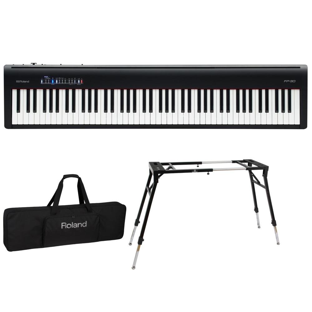 ROLAND FP-30 BK 電子ピアノ Dicon Audio KS-060 スタンド キーボードケース付き 3点セット