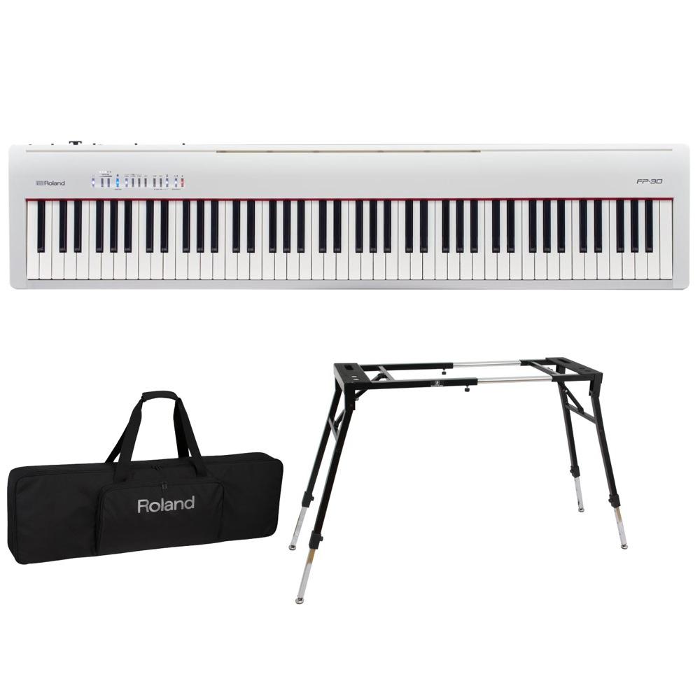 ROLAND FP-30 WH 電子ピアノ Dicon Audio KS-060 スタンド キーボードケース付き 3点セット