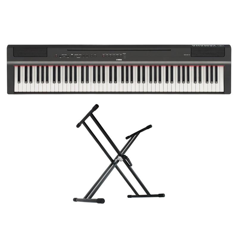 YAMAHA P-125B ブラック 電子ピアノ キーボードスタンド 2点セット [鍵盤 Aset]