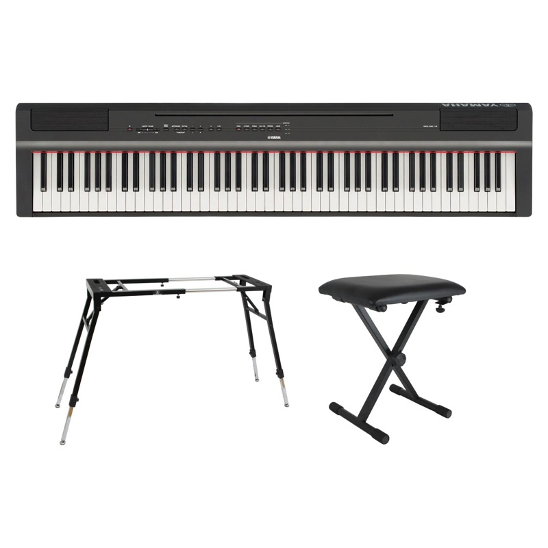 YAMAHA P-125B ブラック 電子ピアノ キーボードスタンド キーボードベンチ 3点セット [鍵盤 Eset]