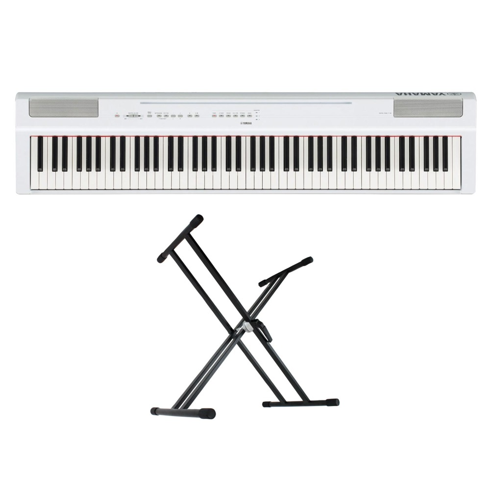 YAMAHA P-125WH ホワイト 電子ピアノ キーボードスタンド 2点セット [鍵盤 Aset]