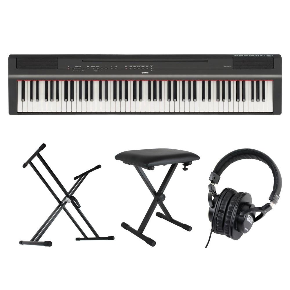 YAMAHA P-125B ブラック 電子ピアノ キーボードスタンド キーボードベンチ ヘッドホン 4点セット [鍵盤 Cset]