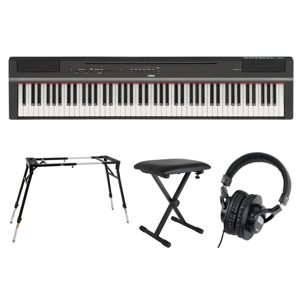 YAMAHA P-125B ブラック 電子ピアノ キーボードスタンド キーボードベンチ ヘッドホン 4点セット [鍵盤 Fset]