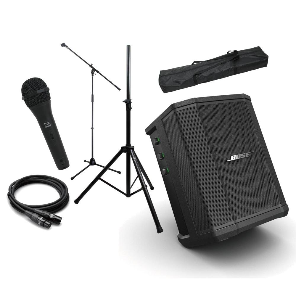 Bose S1 Pro 3ch簡易PA スピーカースタンド ダイナミックマイク(1本) マイクアクセサリー付き PAセット [Bset]