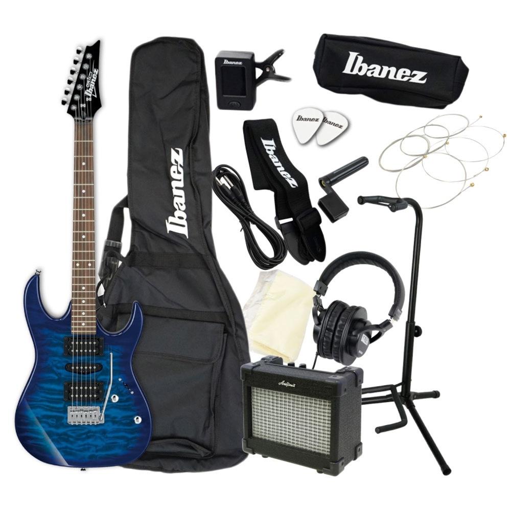 エレキギター 入門セット IBANEZ GIO GRX70QA-TBB アクセサリーセット付き