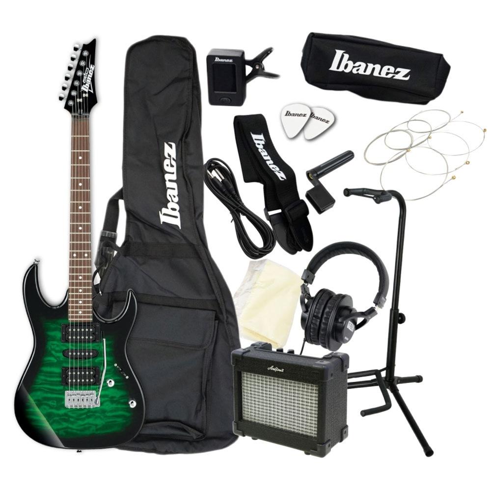 エレキギター 入門セット IBANEZ GIO GRX70QA-TEB アクセサリーセット付き