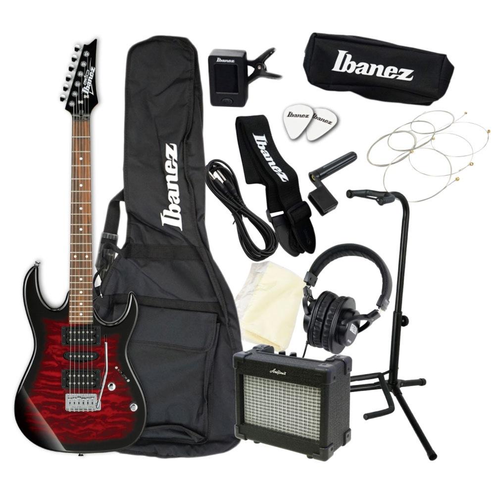 エレキギター 入門セット IBANEZ GIO GRX70QA-TRB アクセサリーセット付き