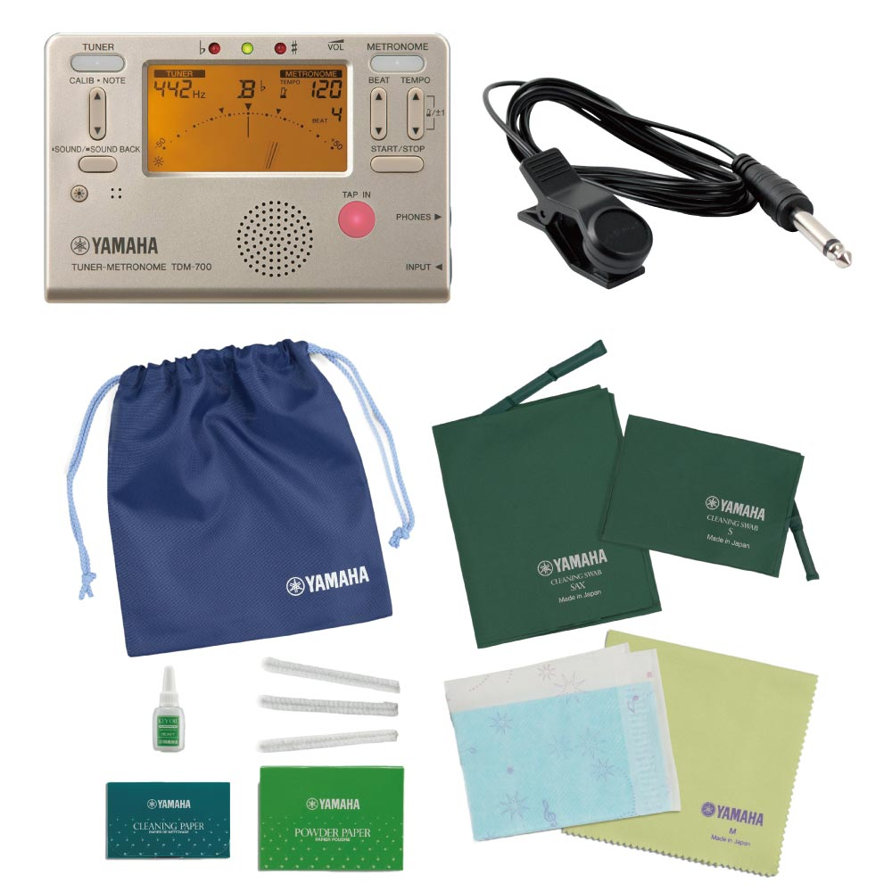 これからサックスを始められる方にお勧め 定番チューナー付き 新着セール ヤマハ サックス用お手入れセット TDM-700G チューニング用コンタクトマイク付き 買物 チューナー セット