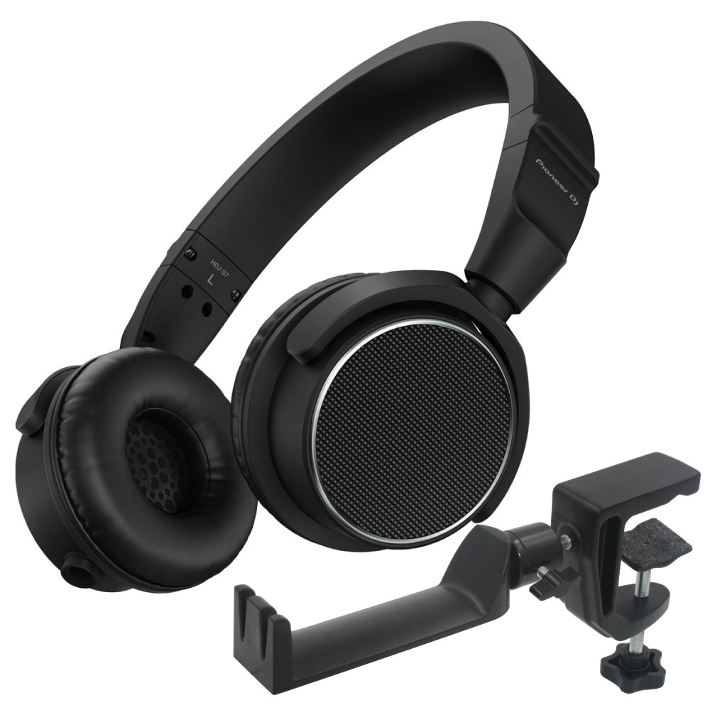 Pioneer HDJ-S7-K Black DJヘッドホン & SEELETON SMH-1 ヘッドホンハンガー 2点セット