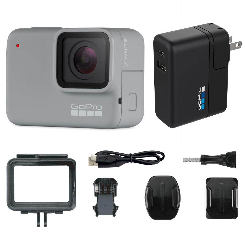 GoPro HERO7 White ウェアラブルカメラ + スーパーチャージャー付き セット