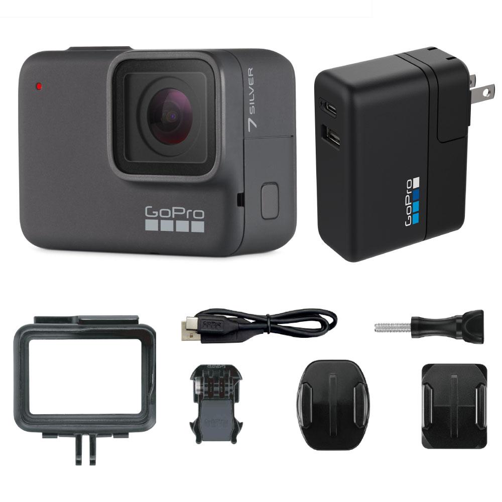 GoPro HERO7 Silver ウェアラブルカメラ + スーパーチャージャー付き セット