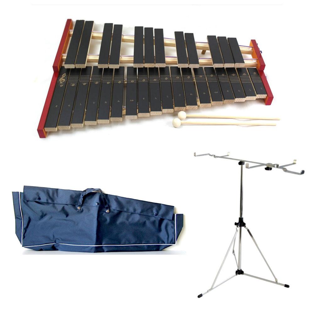 全音 No.181WA 木琴 専用スタンド 専用ビニールケース ブルー 3点セット