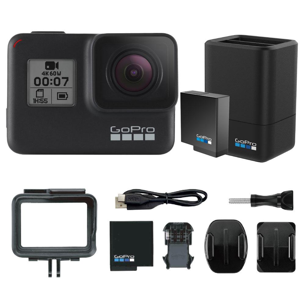 GoPro HERO7 Black ウェアラブルカメラ + デュアルバッテリーチャージャー&純正バッテリー付き セット