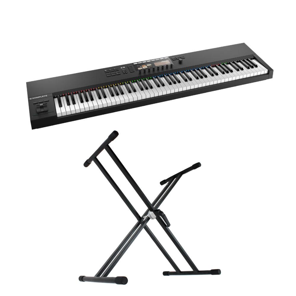 NATIVE INSTRUMENTS KOMPLETE KONTROL S88 MK2 88鍵盤 MIDIキーボード コントローラー X型キーボードスタンド 2点セット