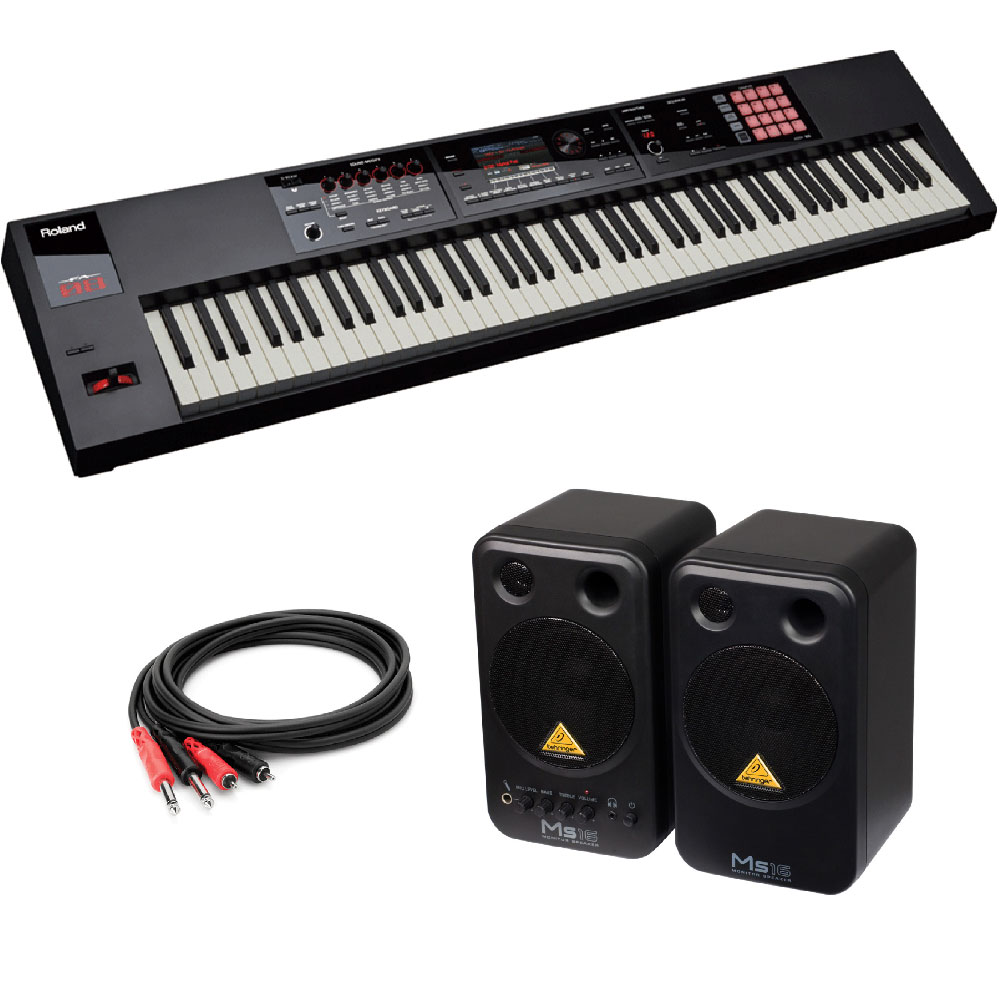 ROLAND FA-08 Music Workstation シンセサイザー BEHRINGER MS16 パワードモニタースピーカー 付き