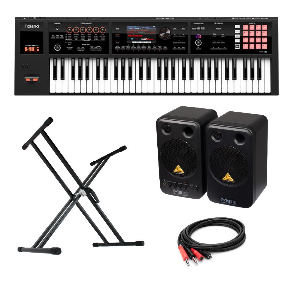 ROLAND FA-06 Music Workstation シンセサイザー BEHRINGER MS16 パワードモニタースピーカー X型スタンド 付き