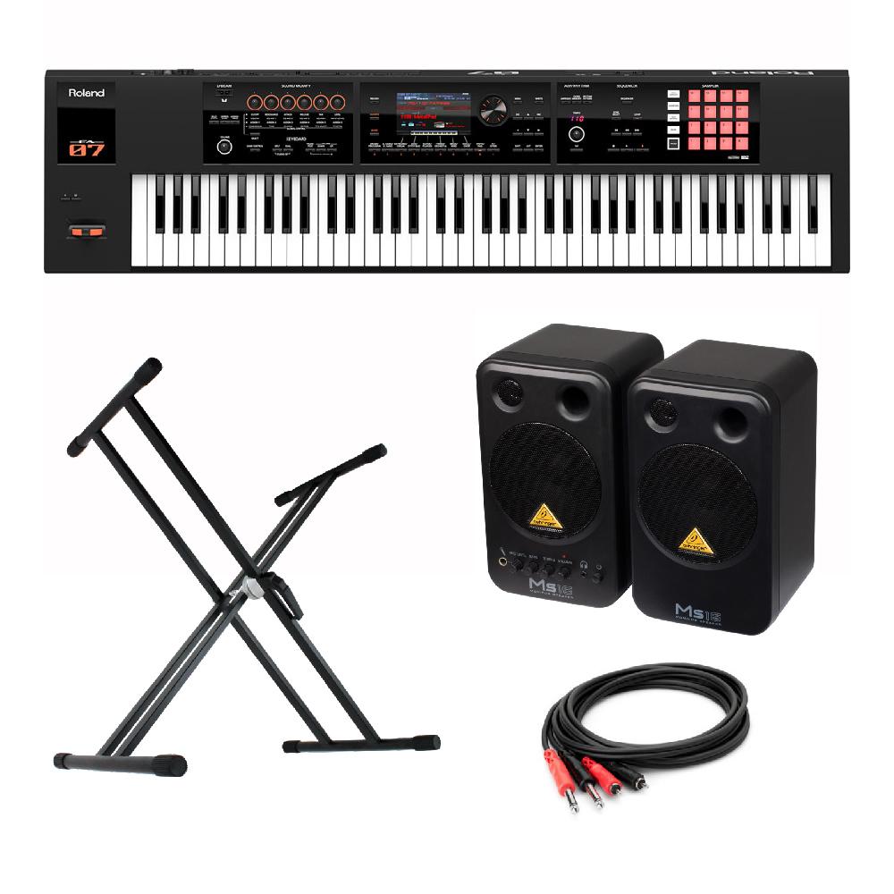 Roland FA-07 76鍵 Music Workstation シンセサイザー BEHRINGER MS16 パワードモニタースピーカー X型スタンド 付き