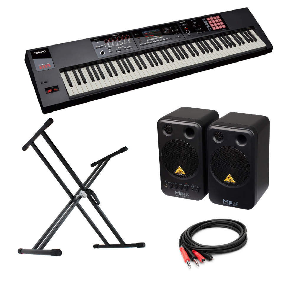 ROLAND FA-08 Music Workstation シンセサイザー BEHRINGER MS16 パワードモニタースピーカー X型スタンド 付き