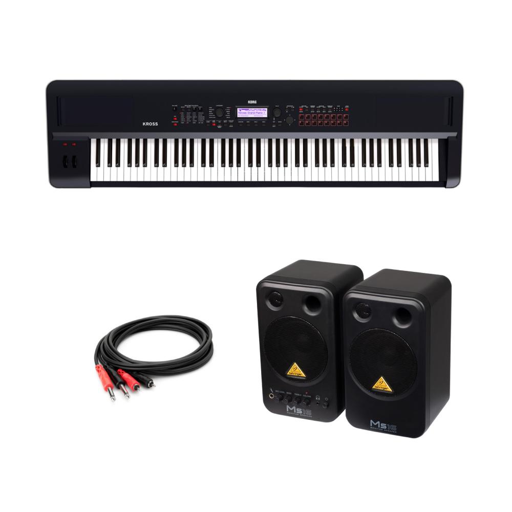 KORG KROSS2-88 ダークブルー 88鍵盤 シンセサイザー BEHRINGER MS16 パワードモニタースピーカー 付き