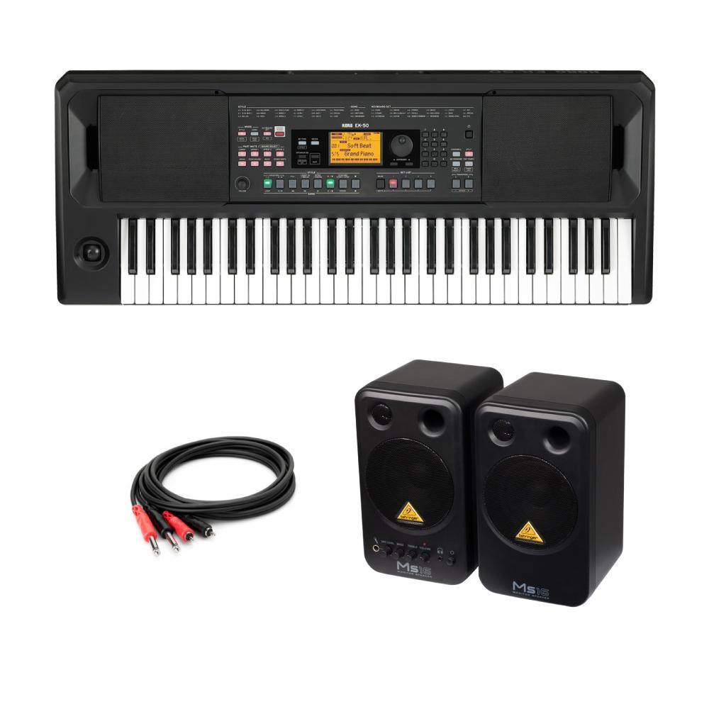 KORG EK-50 Entertainer Keyboard キーボード BEHRINGER MS16 パワードモニタースピーカー 付き
