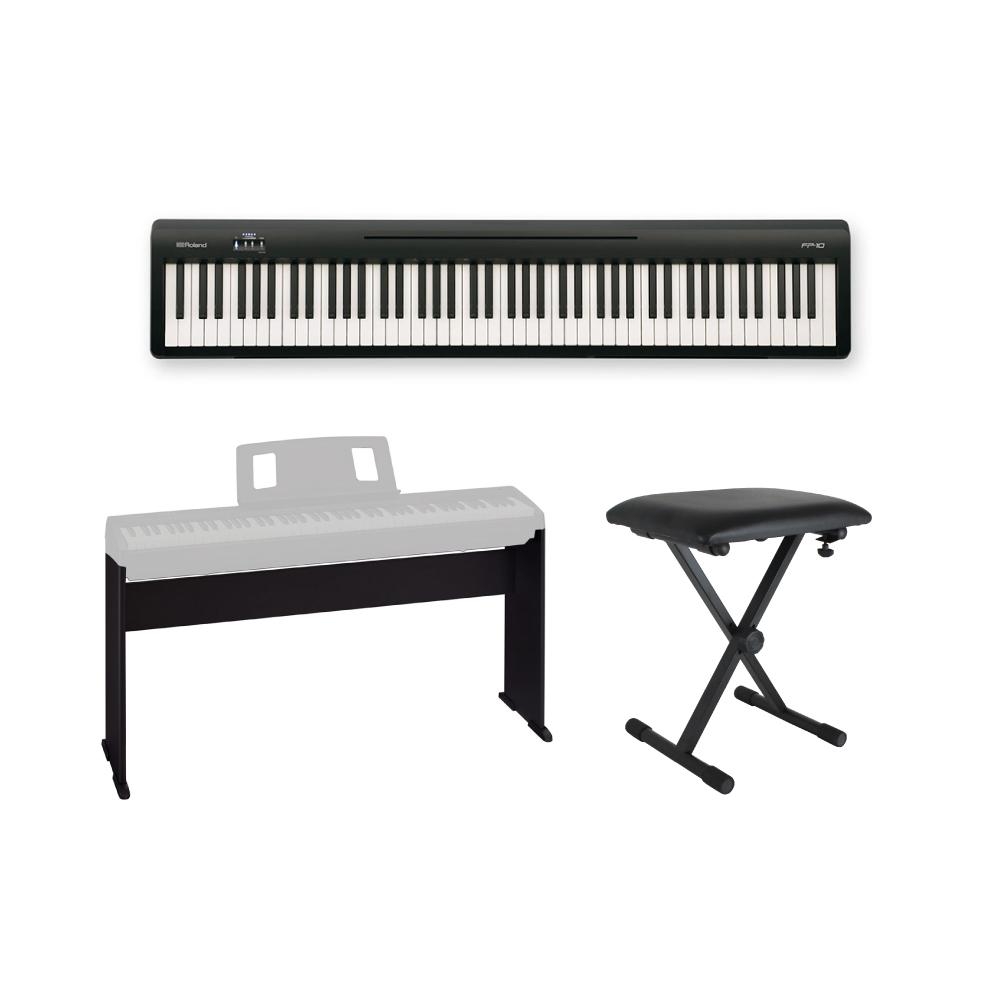 ROLAND FP-10 BK 電子ピアノ ポータブルピアノ 純正スタンド、X型椅子付きセット