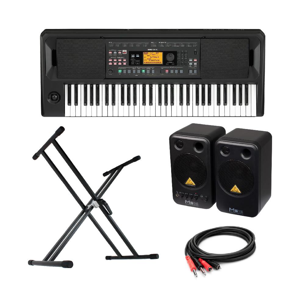 KORG EK-50 Entertainer Keyboard キーボード BEHRINGER MS16 パワードモニタースピーカー X型スタンド 付き