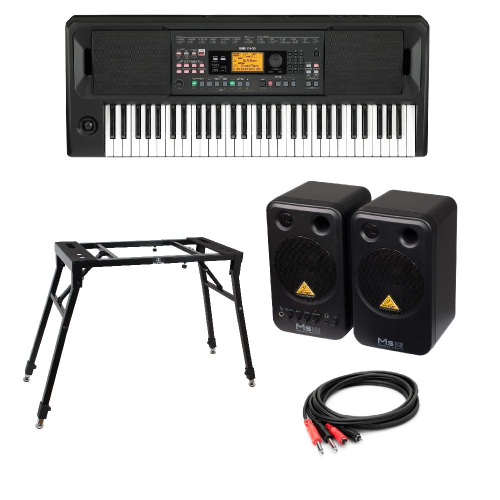 KORG EK-50 Entertainer Keyboard キーボード BEHRINGER MS16 パワードモニタースピーカー 4本脚型スタンド 付き