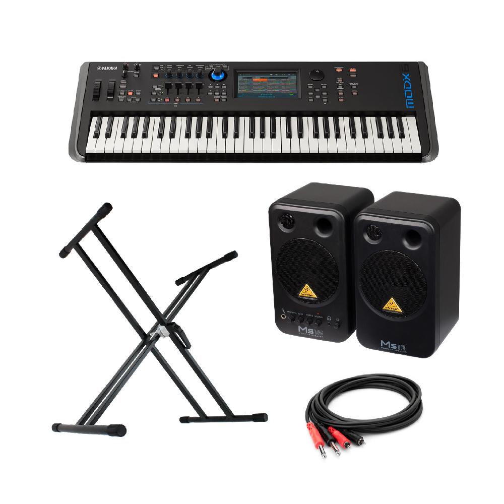 YAMAHA MODX6 61鍵 ミュージックシンセサイザー BEHRINGER MS16 パワードモニタースピーカー X型スタンド 付き