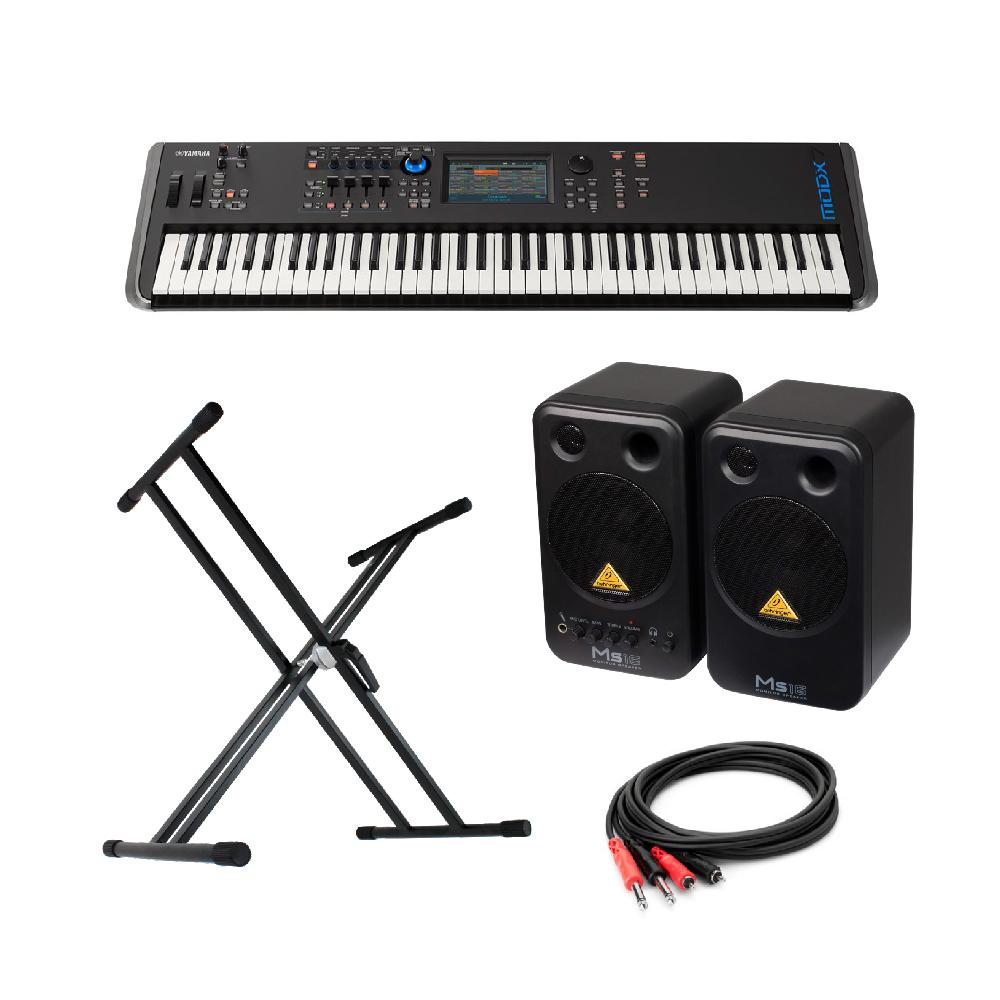 YAMAHA MODX7 76鍵 ミュージックシンセサイザー BEHRINGER MS16 パワードモニタースピーカー X型スタンド 付き
