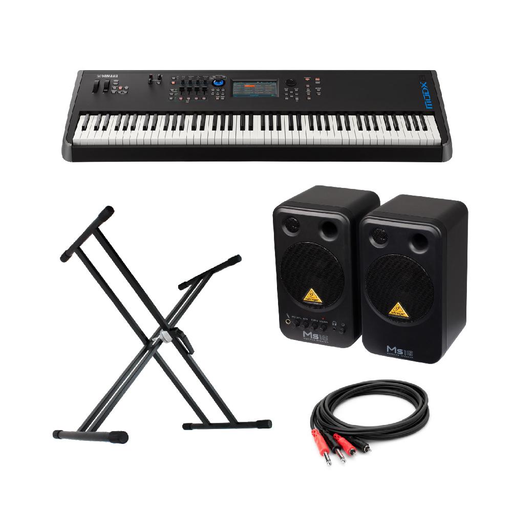 YAMAHA MODX8 88鍵 ミュージックシンセサイザー BEHRINGER MS16 パワードモニタースピーカー X型スタンド 付き