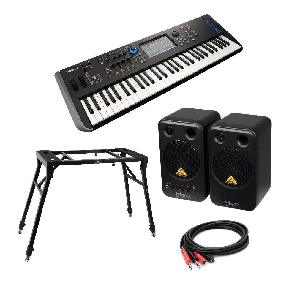 YAMAHA MODX6 61鍵 ミュージックシンセサイザー BEHRINGER MS16 パワードモニタースピーカー 4本脚型スタンド 付き