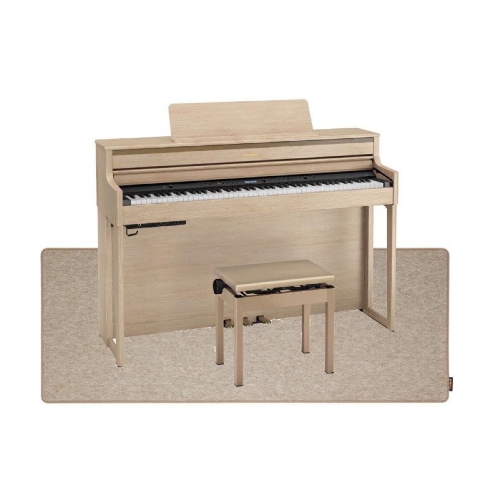 ROLAND HP704-LAS ライトオーク 電子ピアノ 高低自在イス&ピアノセッティングマット付き セット【組立設置無料サービス中】