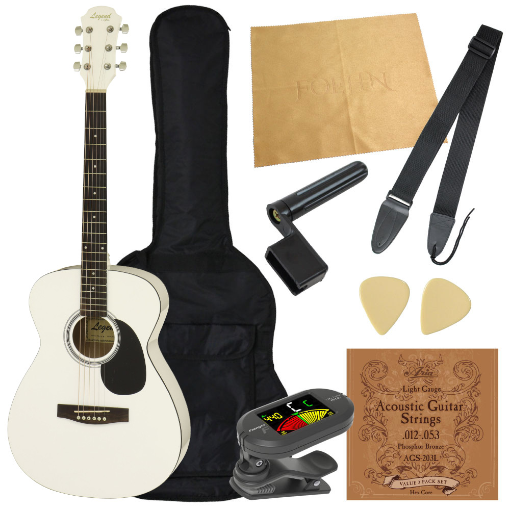【アコギ8点セット】 LEGEND FG-15 WH フォークギター 初心者入門セット
