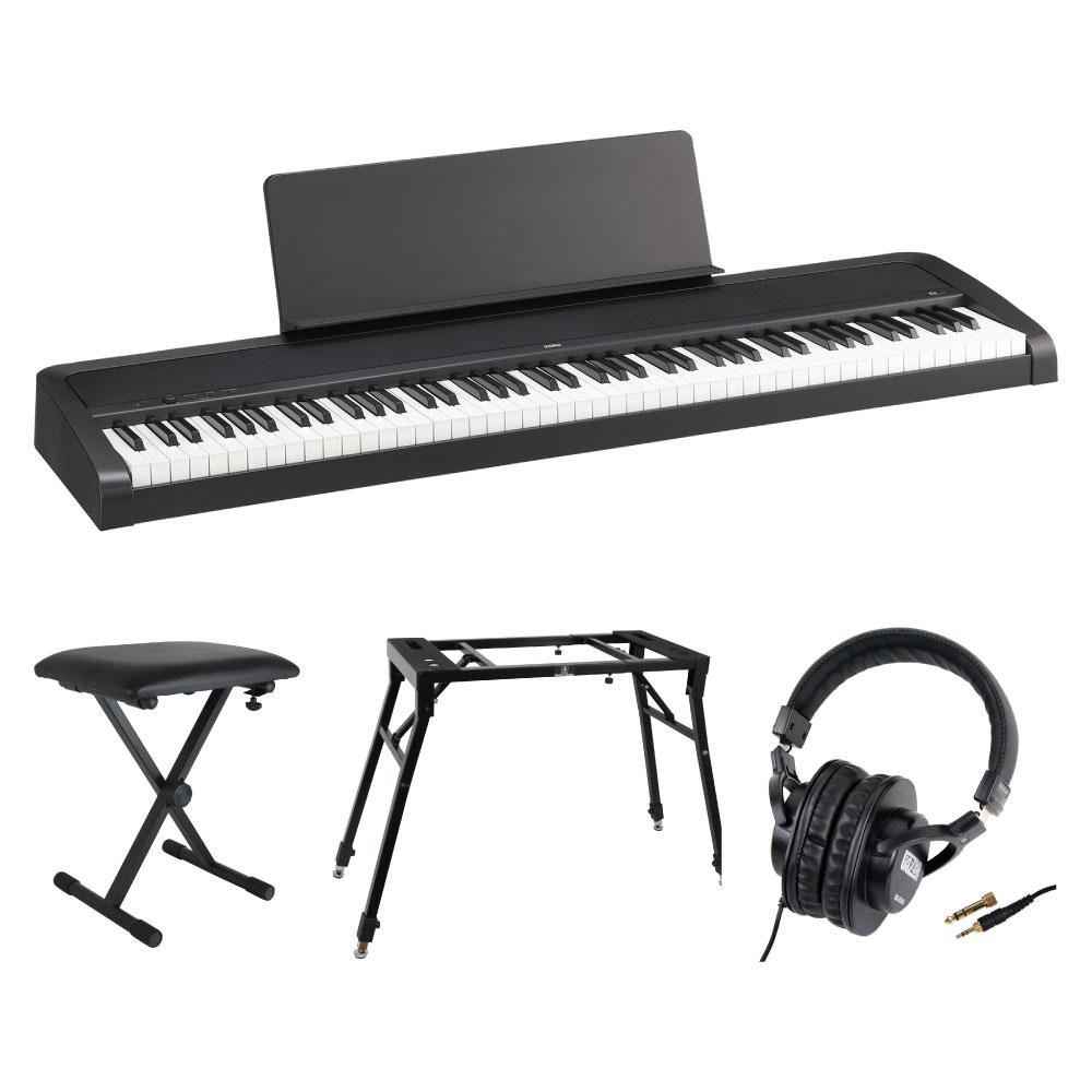 KORG B2 BK 電子ピアノ Dicon Audio 4本脚型 キーボードスタンド&ベンチ SD GAZERヘッドホン 4点セット