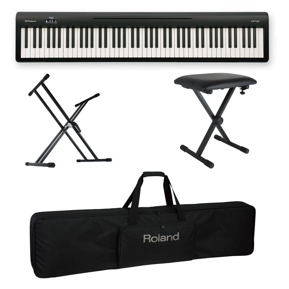 ROLAND FP-10 BK 電子ピアノ ポータブルピアノ X型スタンド/X型椅子/キャリングケース付きセット