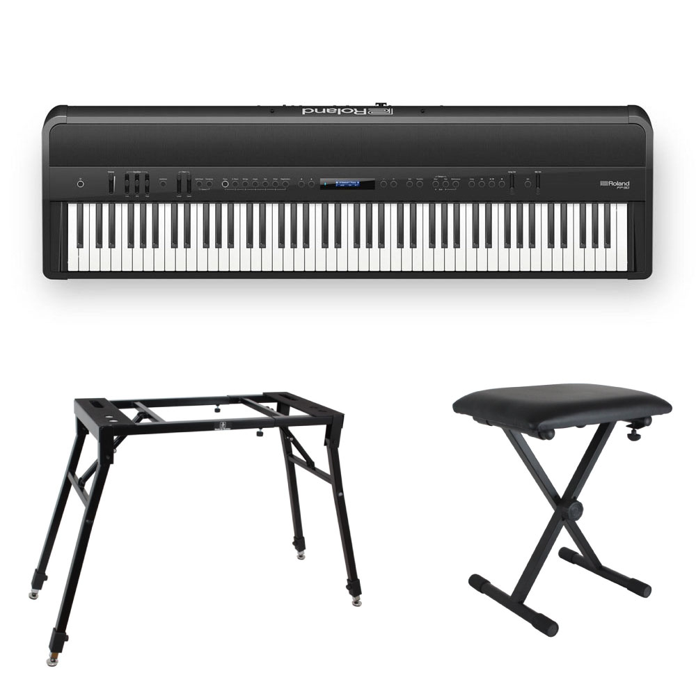 ROLAND FP-90-BK Digital Piano 4本脚スタンド/X型椅子付きセット ブラック デジタルピアノ