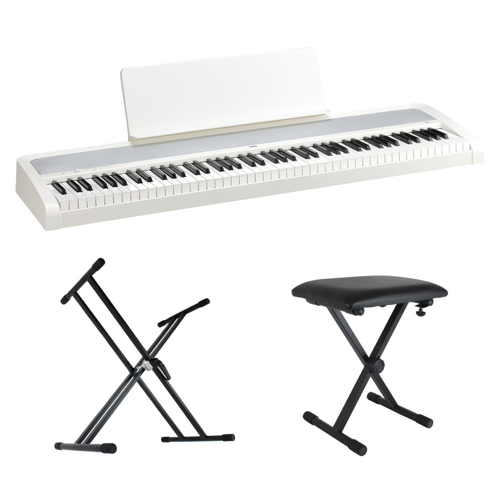 KORG B2 WH 電子ピアノ Dicon Audio X型キーボードスタンド キーボードベンチ 3点セット