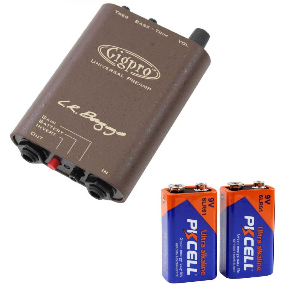 L.R.BAGGS GIG PRO エレアコ用プリアンプ PKCELL BATTERY 6LR61-2B 9Vアルカリ電池 2個パック セット