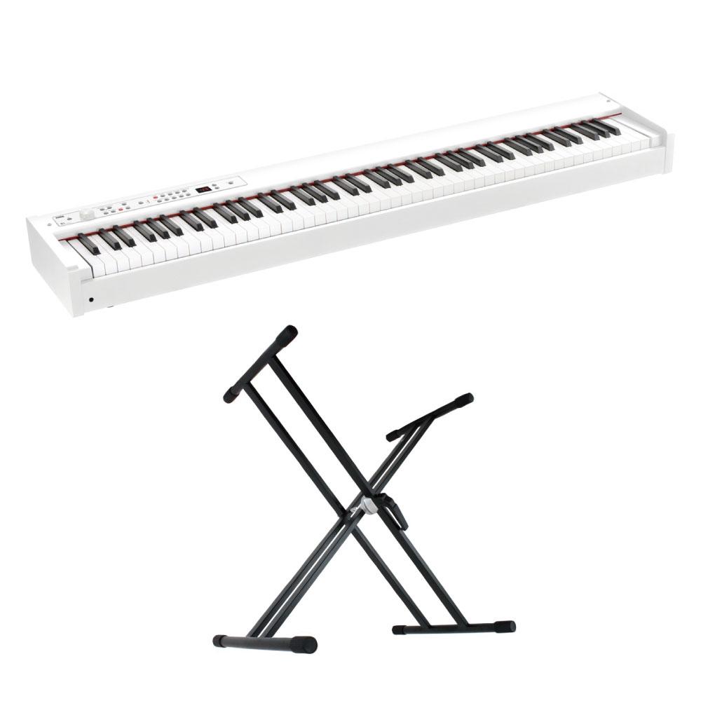 KORG D1 WH DIGITAL PIANO ホワイト 電子ピアノ X型スタンド 2点セット
