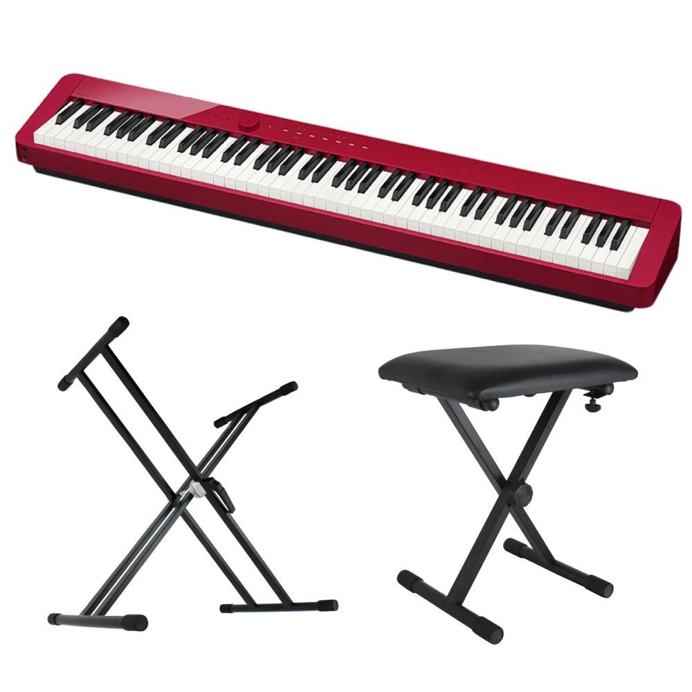CASIO Privia PX-S1000 RED 電子ピアノ キーボードスタンド キーボードベンチ 3点セット [鍵盤 Bset]