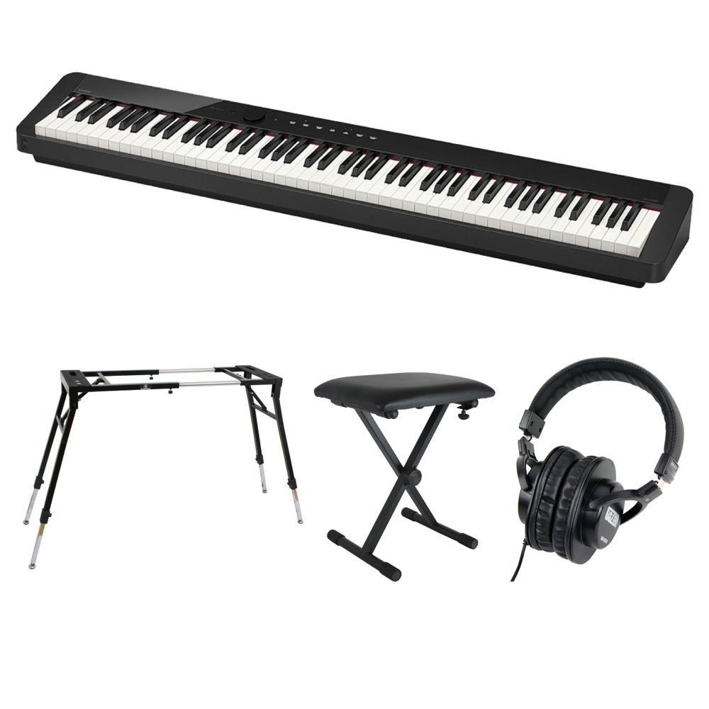 CASIO Privia PX-S1000 BK 電子ピアノ キーボードスタンド キーボードベンチ ヘッドホン 4点セット [鍵盤 Fset]