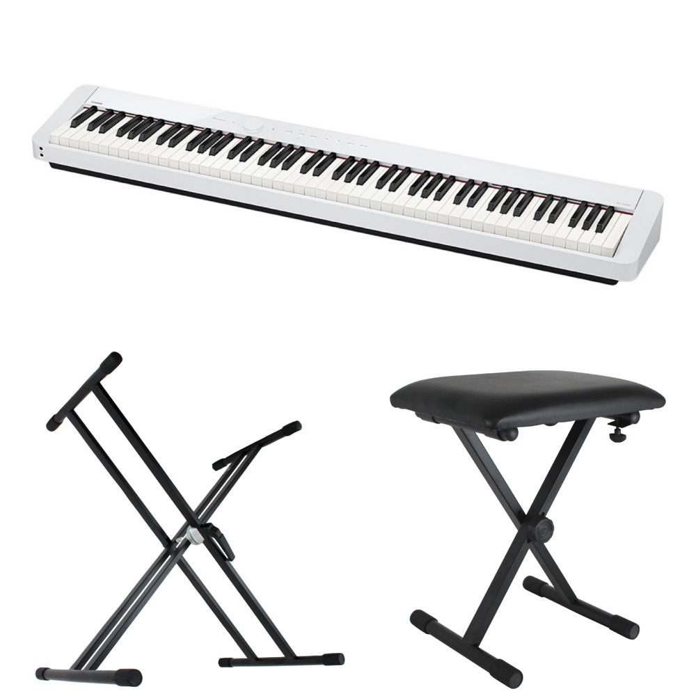 CASIO Privia PX-S1000 WE 電子ピアノ キーボードスタンド キーボードベンチ 3点セット [鍵盤 Bset]