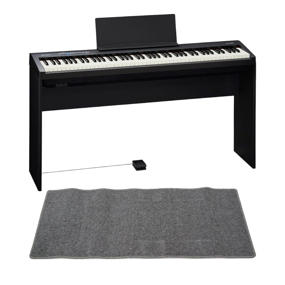 ROLAND FP-30 BK 電子ピアノ 純正スタンド、ピアノマット(グレイ) 付きセット