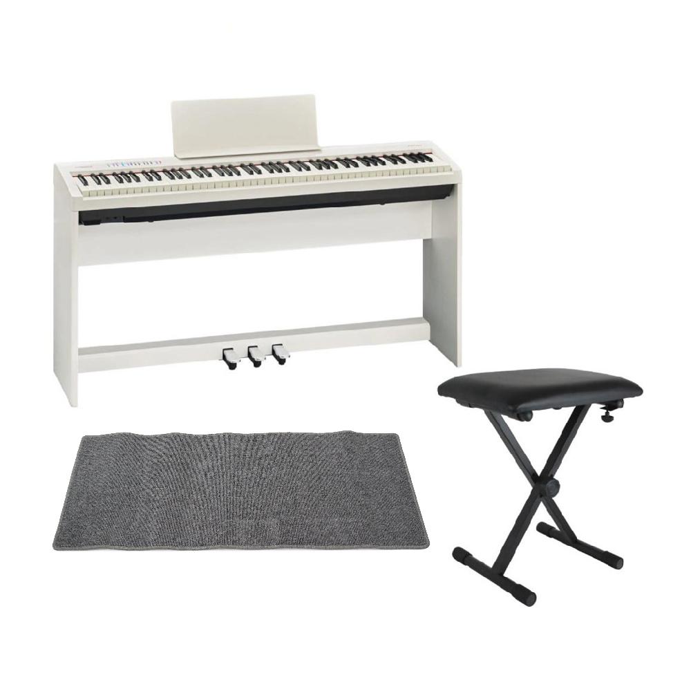 ROLAND FP-30 WH 電子ピアノ 純正スタンド ペダルユニット X型イス ピアノマット(グレイ)付きセット